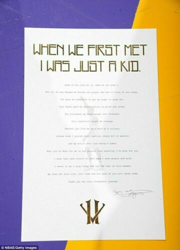 KOBE BRYANT LOS ANGELES LAKERS DEAR BASKETBALL LETTER PHOTO SIGNED 12x18 REPRINT