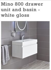 Bathstore white sink and drawer unit 800 wide reduced price!
