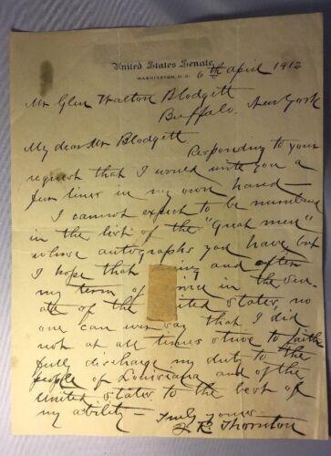 Handwritten, Signed Letter by Senator John Thornton,1912.