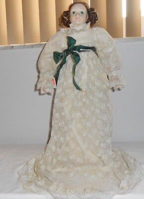 "Vintage Handmade Doll W/ Porcelain Head & Hands, Body Cloth 22"" W/ Vintage Dress"