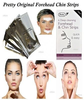 PRETTY FOREHEAD & CHIN STRIPS DEEP CLEANSING BLACKHEAD REMOVAL UNCLOGS PORES NEW