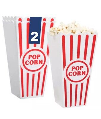Set of 6 Popcorn Plastic Container Box Tub Bowl Home Movie Theater BRAND NEW