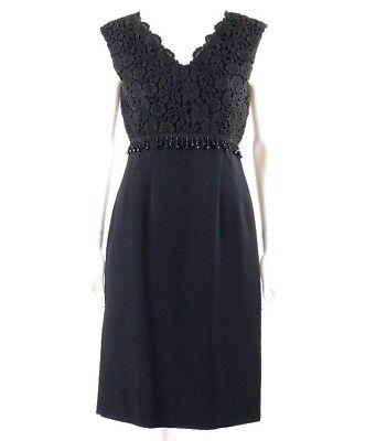 Vtg FEMME FASHIONS c.1950's - 1960's Black Sleeveless Cocktail Dress