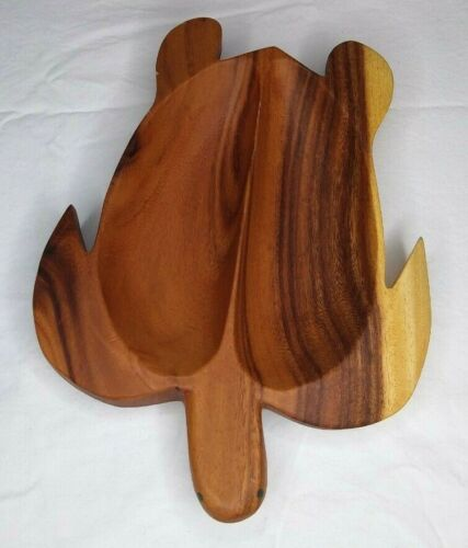 """Wooden Turtle Tortoise Divided Tray Dish 12"""" x 8.5"""" x 1.5"""" Honu Philippines EUC"""