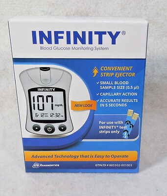 INFINITY Diabetic Blood Glucose Monitor Meter Kit >Free Shipping< Exp 07-2020