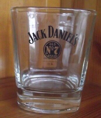 "JACK DANIELS OLD NO 7 BRAND WHISKEY GLASS (JACK DANIEL IN BASE) 3½"" (9CM)"