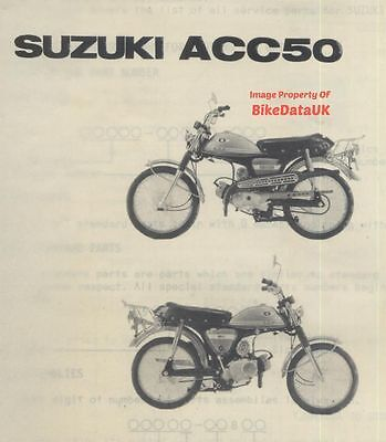 Suzuki ACC 50 1972-on Fully Illustrated Parts List Catalogue Book (not AP AC)
