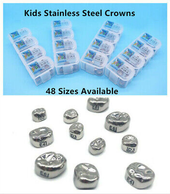 5pcs Dental Kids Primary Molar Crown Stainless Steel Pediatric Tempoary Crowns