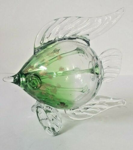 Art Glass Fish HQT Murano Style Green & Gold Specks Clear Hand Made Home Design