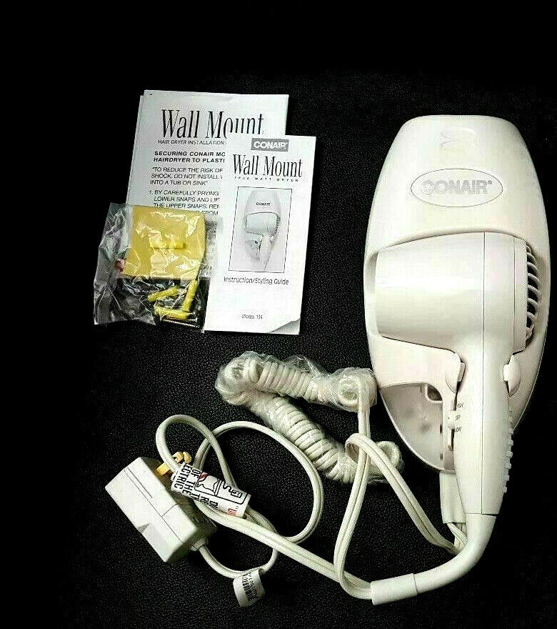 Conair 134W Mini Turbo White Wall Mount Hair Dryer with Nigh