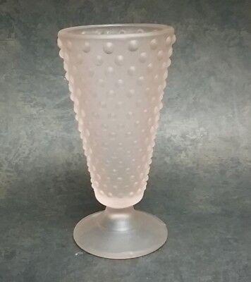Teleflora Pink Hobnail Frosted Glass Vase 8