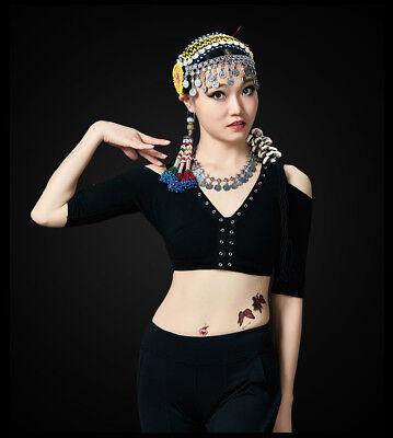 New ATS D593 Tribal Indian Choli Vintage Belly Dance V-Neck Top Costume Carnival