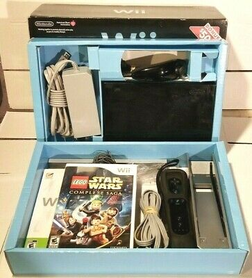 Nintendo Wii Black Game Console with Lego + Fit Game Bundle Tested in Box!