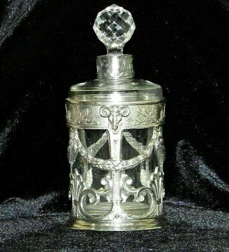 Antique French Scent Bottle Silver Metal Cased-Garland Swags-Wreaths+Rams Head