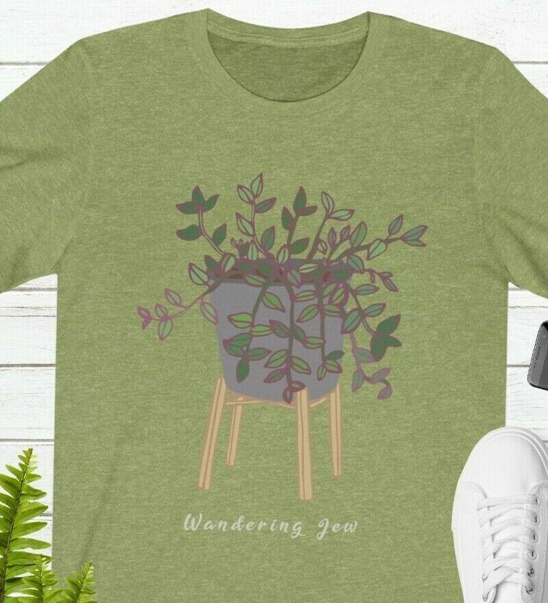 Wandering Jew Plant Tee Shirt Pink Lilac Potted Purple Variegated Pots Stand Han