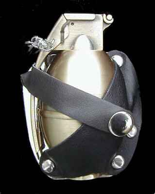 GRENADE BUTANE LIGHTER BELT BUCKLE WITH REAL LEATHER HOLSTER