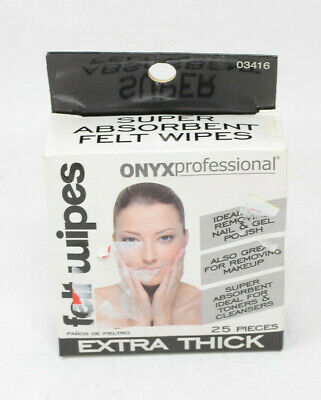 New Onyx Professional Super Absorbent Felt Wipes 25 pack 03416 Felt Nail Polish Remover Pads