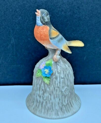Vintage Robin Bird Bell Figurine Towle Fine Bone China Applied Flower