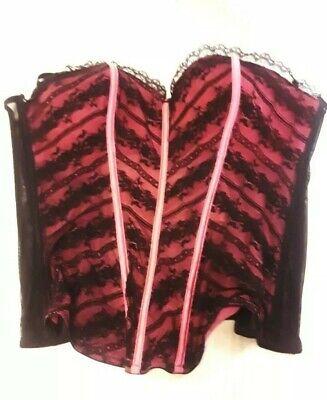 CORSET SECRET ladies L black/pink  Saloon/Burlesque costume, NWT