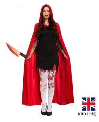Ladies ZOMBIE RED RIDING HOOD COSTUME Blood Horror Halloween Fancy Dress NEW UK