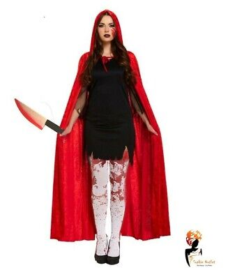 Ladies ZOMBIE RED RIDING HOOD COSTUME Blood Horror Halloween Fancy Dress NEW UK - Zombie Halloween Costume Uk