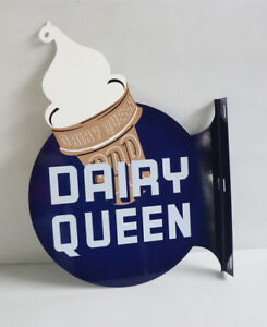 DAIRY QUEEN Flange Sign   Diecut Ice Cream Cone    DQ modern retro