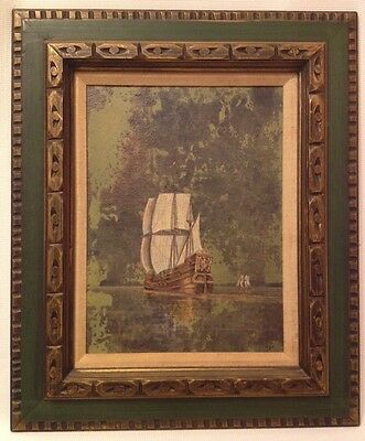 Vintage CLIPPER SHIP PAINTING Oil/Canvas Framed Wall Art Nautical Maritime Sea