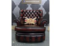 Stunning Refurbished Chesterfield Spoon Back Monk Arm Chair in Oxblood Leather - UK Delivery