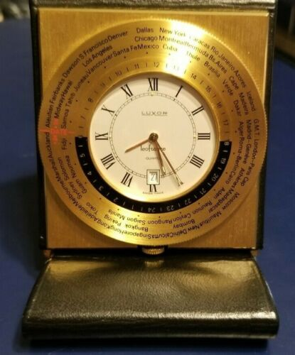 VINTAGE SWISS GOLD-PLATED LUXOR WORLD TIME QUARTZ TRAVEL ALARM CLOCK