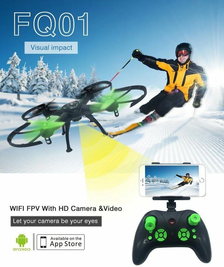 RC Drone FQ777 FQ01 Quadcopter WIFI FPV Camera 2.4G 4CH Black, Altitude Hold. UK