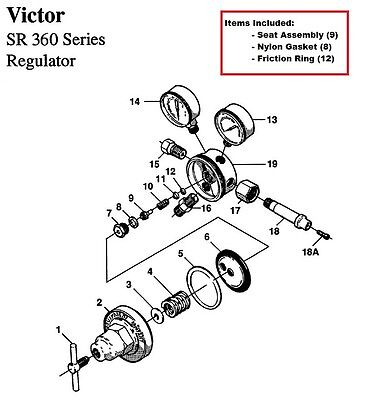 Victor Sr360a Acetylene Regulator Rebuildrepair Parts Kit