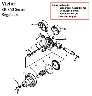 Victor Sr360a Acetylene Regulator Rebuildrepair Parts Kit W Diaphagm