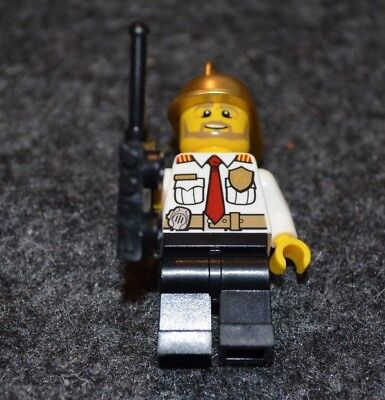 City Firefighter Chief w/ Radio and Gold Helment Minifigure - NEW Lego Parts - Firefighter Helment