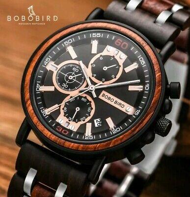 Herren Armbanduhr Chronograph Holz / Bambus
