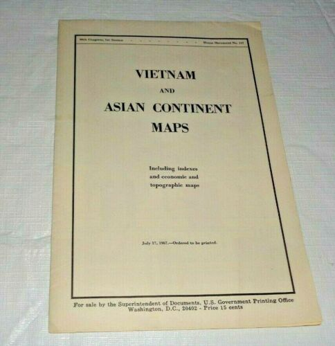 1967 Map, Vietnam & Asian Continent US Government Printing Office, 90th Congress