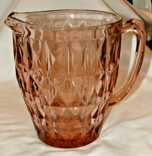 "Vintage Windsor Pink Diamond Pattern Pink Depression Glass  6.5"" Tall"