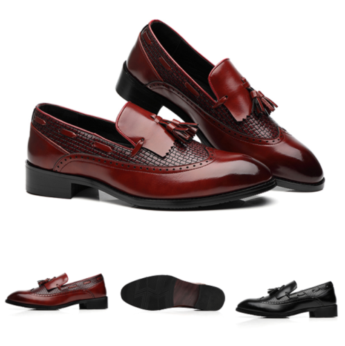 Men Brogue Slip On Pointy Toe Dress Formal Oxfords Tassel Loafers Wing Tip Shoes