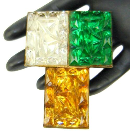 Vintage Art Deco Large Green Amber Yellow Clear Geode Stones Dress Clip