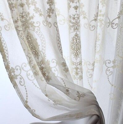 Window Curtain Ivory Embroidered Sheer Voile Rod Pocket 2 Panels Set 55