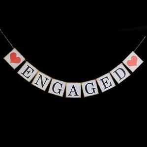 Engaged Cardboard Engagement Decoration Bunting Banner Garland Wedding Decor