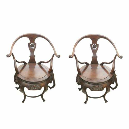 Chinese Ching Dynasty Influence Carved Sandalwood Chairs - a Pair