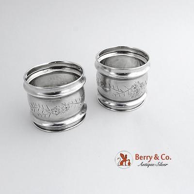 Aesthetic Napkin Rings Pair Gorham Sterling Silver 1880