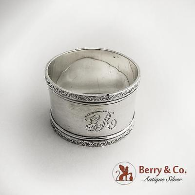 Vintage Napkin Ring Scroll Embossed Borders Sterling Silver Birmingham 1900