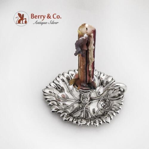 Ornate Chamber Stick Spanish Silver 916 Standard Floral Leaf Design