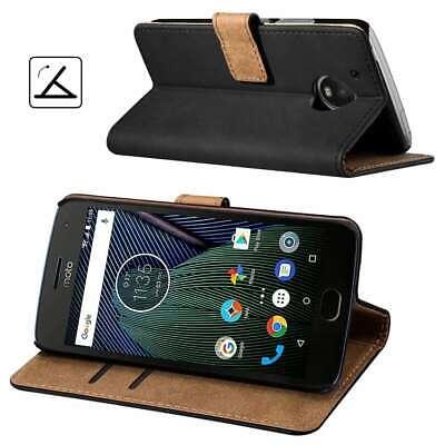 For Motorola Moto G5 - Premium Black Genuine Real Leather Flip Case Wallet Cover