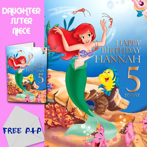THE-LITTLE-MERMAID-ARIEL-PERSONALISED-Birthday-Card-Daughter-Sister-Niece