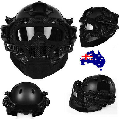 Airsoft Paintball Tactical Fast Helmet Mask Goggles G4 System Protective Gear ON