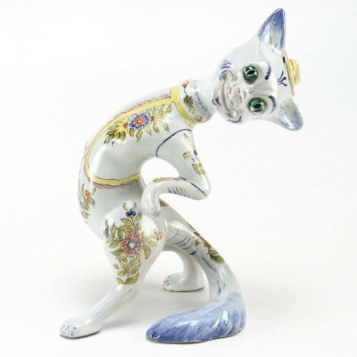 VINTAGE French Mosanic Galle Style Faience Pottery Cat