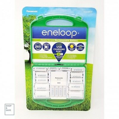 Panasonic Eneloop AAA AA Charger With D C Adapters Rechargeable Battery Kit (Best Rechargeable D Batteries)