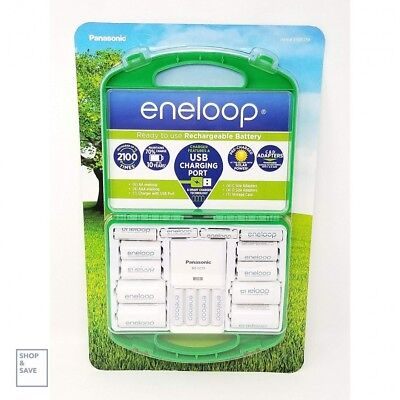 Panasonic Eneloop AAA AA Charger With D C Adapters Rechargeable Battery Kit